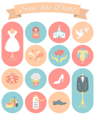 wedding night: Set of modern flat round wedding icons