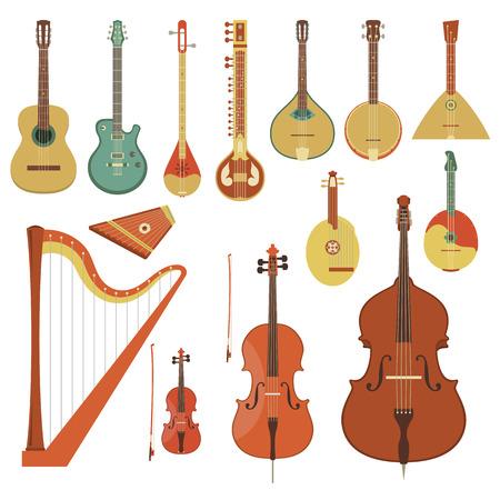 arpa: Conjunto de varios instrumentos musicales de cuerda en el estilo plano Vectores