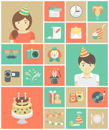 Set of flat square icons of kids birthday party