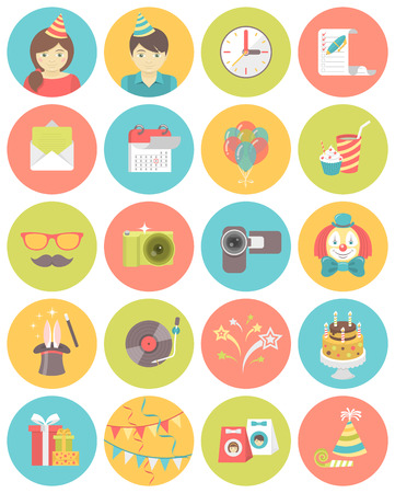 fancy box: Set of flat round icons of kids birthday party in bright colors