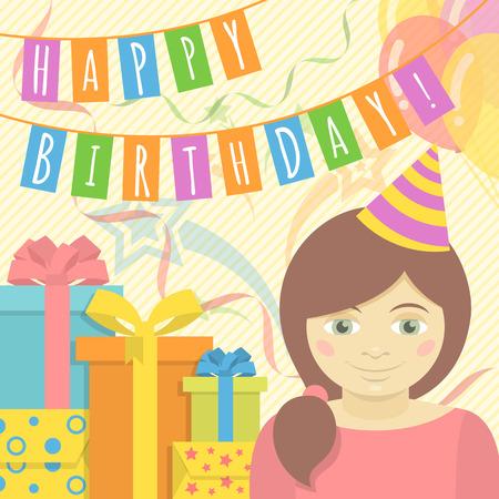 happy birthday girl: Happy Birthday Girl Illustration