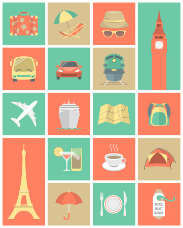 deck chair: Set of modern flat square traveling icons