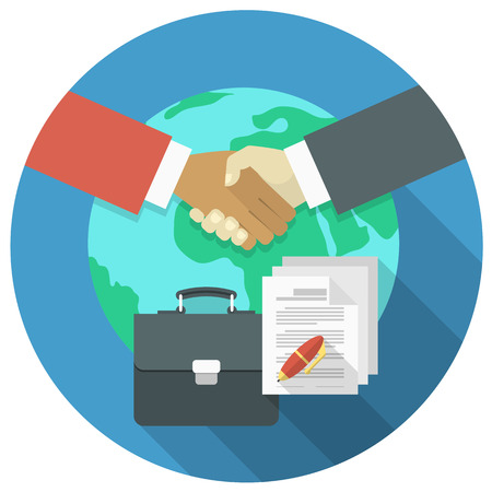 Conceptual illustration of international business cooperation and partnership Vector