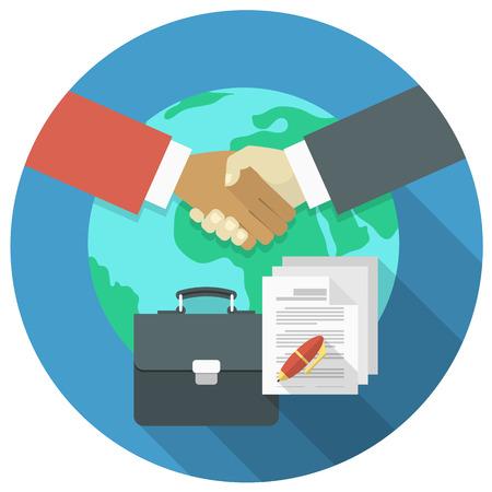 Conceptuele illustratie van het internationale bedrijfsleven samenwerking en partnerschap