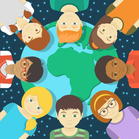 Conceptual square illustration of multiracial children around the Earth Vector