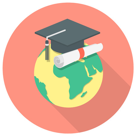 Round concept of international education with a globe and a graduation cap Vector
