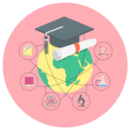 birrete: Ilustración conceptual de la educación académica internacional con un globo, la tapa de graduación y los símbolos de diversas ciencias Vectores