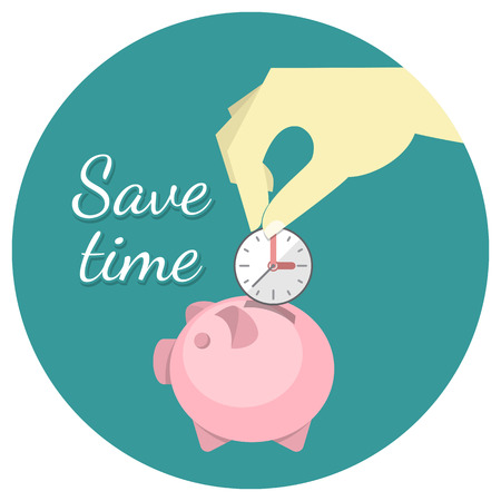 Conceptual illustration of the time saving with a hand putting a clock in a piggy bank Vector