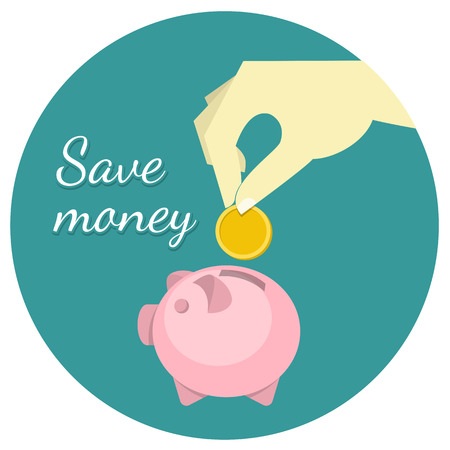 economize: Conceptual illustration of the money saving with a hand putting a coin in a piggy bank