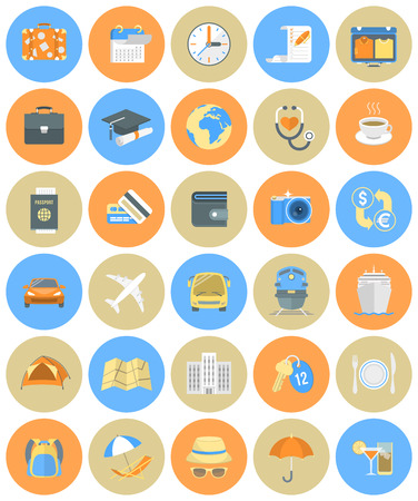 simple meal: Set of modern flat round traveling icons