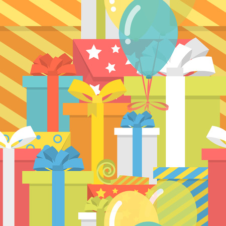 Bright colorful seamless birthday pattern with lot of gifts  Vector
