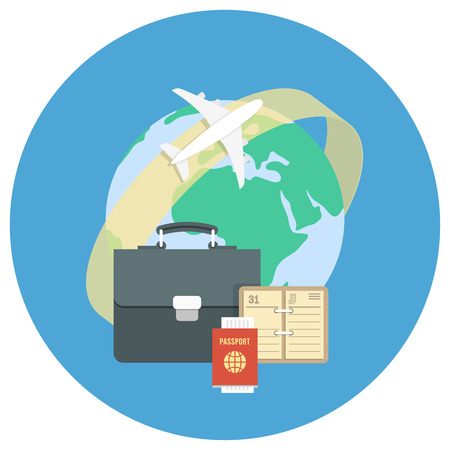 planner: Round flat conceptual illustration of international business travel by airplane