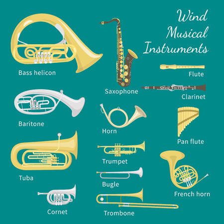 Set of various brass and woodwind instruments Illustration