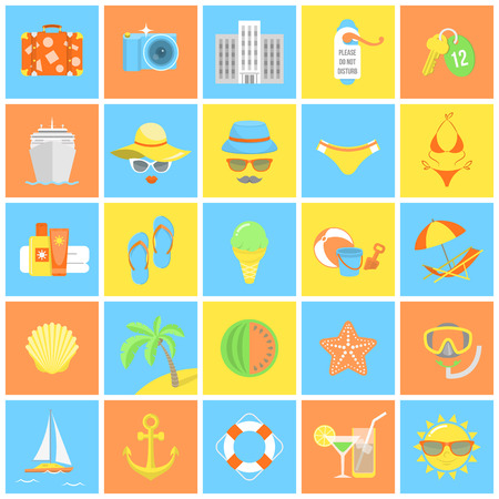 Set of modern flat square icons of summer vacation and beach holidays Vector