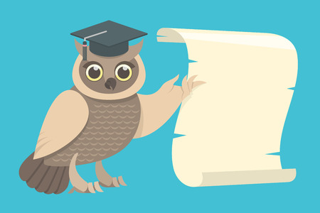 scholar: Flat vector illustration of a wise owl in a graduation cap showing the wing on the scroll
