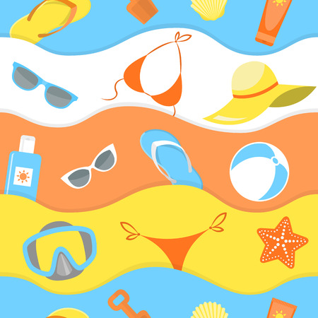 Seamless pattern for the summer background with various beach essentials in flat style Vector