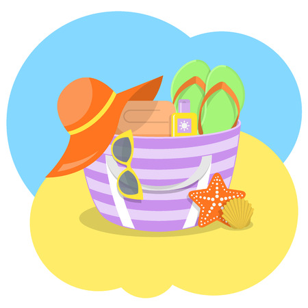 panama: Modern flat vector illustration of summer bag with some beach essentials