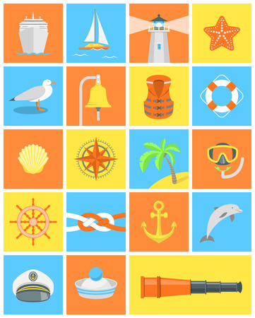 Set of modern flat square icons for nautical and sea traveling themes Vector