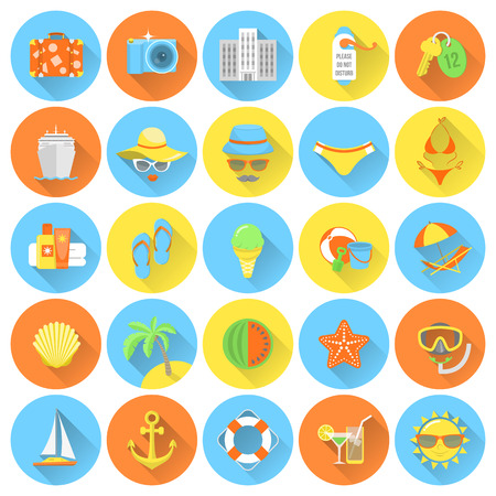 Set of modern flat round icons of summer vacation and beach holidays Vector