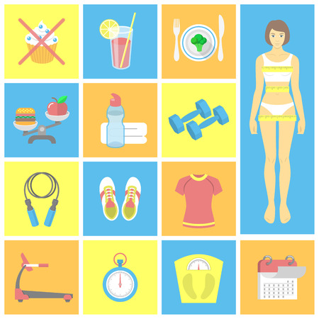 Set of flat icons for female fitness  Vector symbols for weight loss and gym exercises Vector