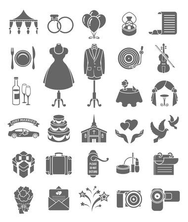 Conjunto de iconos de la silueta de la boda oscuros para la organización de una ceremonia y una fiesta de bodas Ilustración de vector