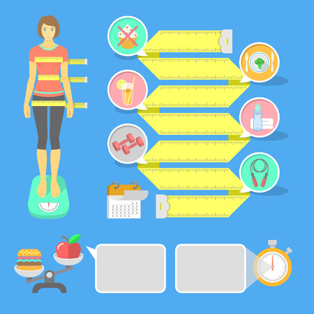 Set of vector flat infographic elements for the theme of fitness and shaping  Body proportions and weight of a young girl, points to achieve the perfect figure in the form of a measuring tape with icons and informational banners  イラスト・ベクター素材