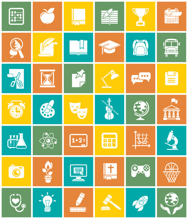 Set of modern flat white silhouette icons of school subjects, educational and science symbols in colorful squares