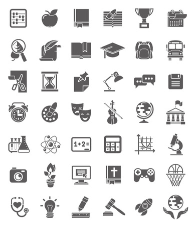 Set of dark silhouette icons of school subjects, educational and science symbols Vector