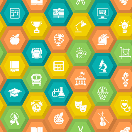 Flat hexagonal colored seamless pattern with white silhouette educational icons of school subjects and conceptual symbols Vector