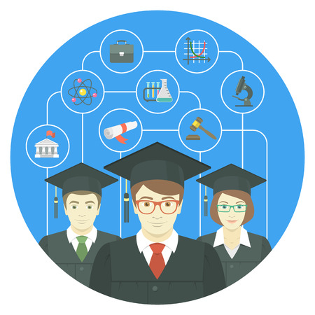 Conceptual flat vector illustration of the group of college, institute or university graduates, with icons of various sciences