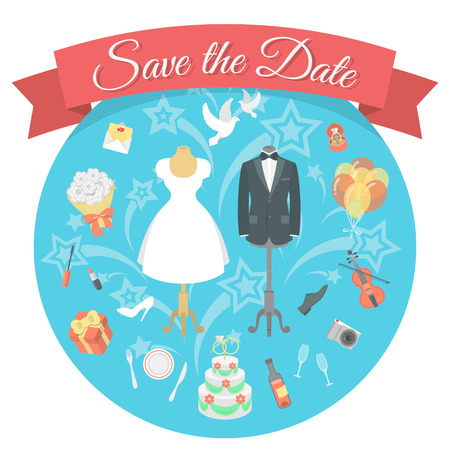 Flat vector conceptual illustration of wedding chores and preparation for the celebration of the wedding party, including wedding dress and tuxedo, festive table, cake, gifts and decorations Vector