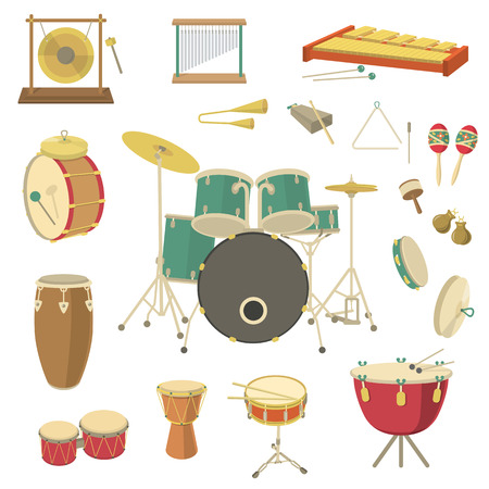 tambores: Conjunto de varios instrumentos musicales de percusión de vectores en el estilo plano