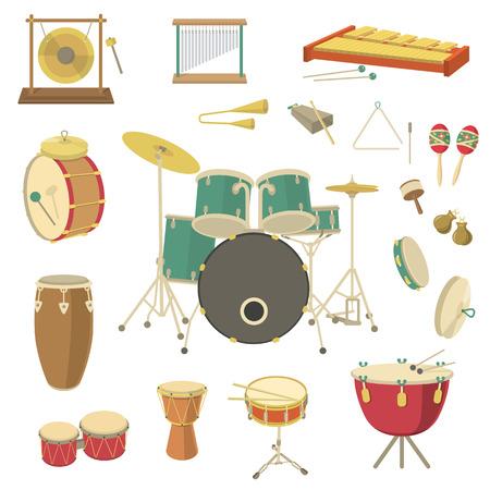 instruments de musique: Ensemble de divers instruments de musique à percussion de vecteur dans le style plat