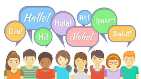 Group of kids that say hello in different languages with colorful speech bubbles in the flat style
