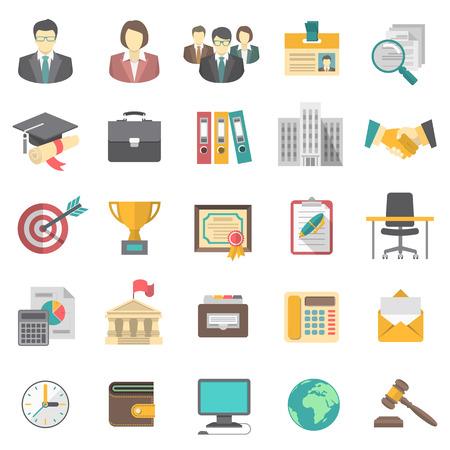 Iconos planos modernos para la hoja de vida de negocios y la búsqueda de recursos humanos para una empresa
