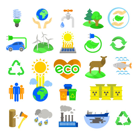 Set of modern flat colorful vector icons of ecology theme, including alternative energy sources, environmental issues, conservation and restoration of natural resources and the influence of human activity on the planet  Isolated on white