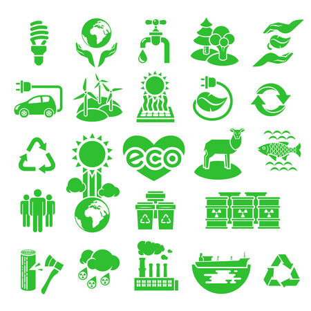 alternative energy sources: Green silhouette vector icons of ecology theme, including alternative energy sources, environmental issues and also conservation and restoration of natural resources and the influence of human activity on the planet
