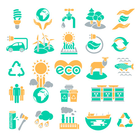 Set of green silhouette vector icons of ecology theme, including alternative energy sources, environmental issues and also conservation and restoration of natural resources and the influence of human activity on the planet Illustration