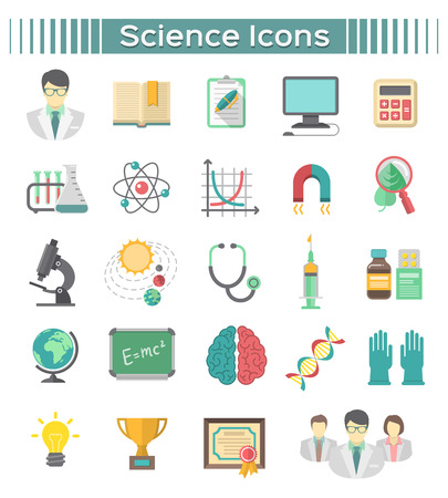 Modern flat icons of different scientific spheres  Vector