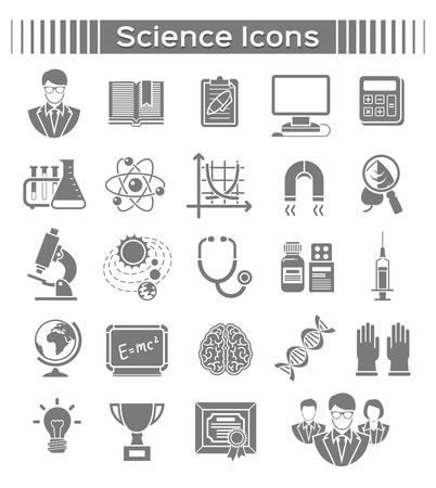 Silhouette icons of different scientific spheres
