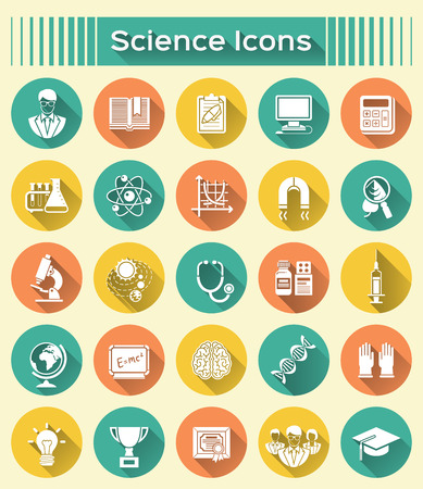 Round icons with long shadows of different scientific spheres such as math, biology, chemistry, physics, astronomy, genetics, as well as symbols of a scientist and scientific cooperation Vector