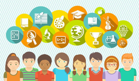 Horizontal flat banner with a group of kids and educational icons of school subjects in colored circles Illustration