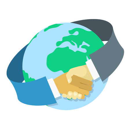 Conceptual vector illustration of international business cooperation in the form of a handshake around earth globe in modern flat style. Isolated on white