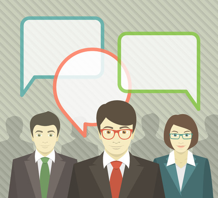 Flat vector illustration of a young business team and speech bubbles with blank place for text.  Vector