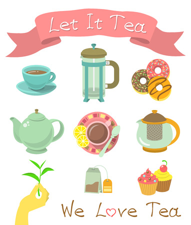 Set of modern flat vector icons of tea party essentials.   Çizim