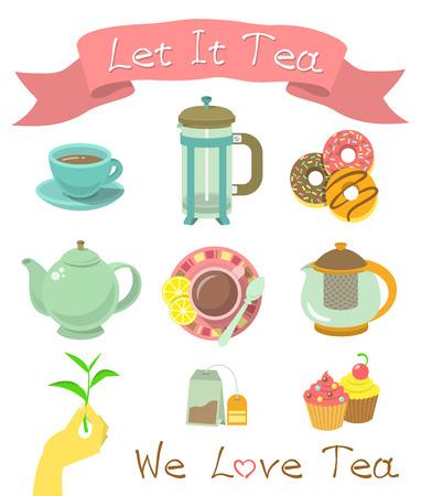 Set van moderne flat vector iconen van de tea party essentials.