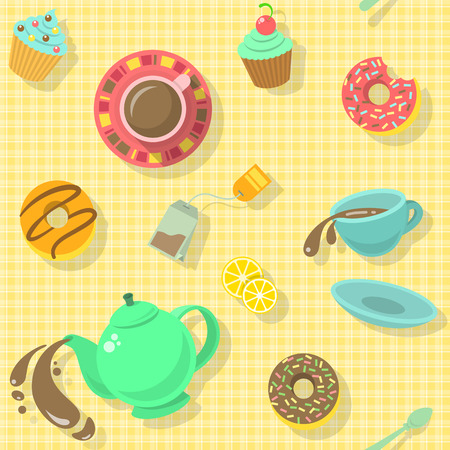 tea strainer: Bright colorful attractive seamless pattern with tea cups, strainer, donuts, cakes and saucer for a fun tea party background  Illustration