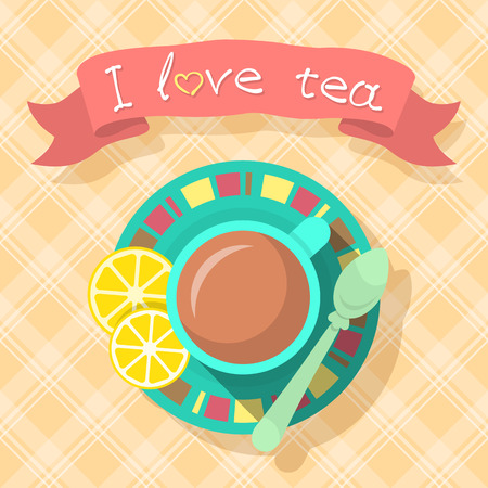 tea time: Flat vector illustration of a cup of tea and slices of lemon with an inscription on a ribbon and checkered background