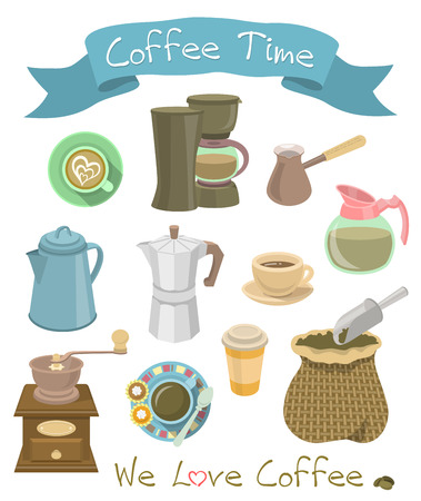 percolator: Set of accessories for the preparation of coffee, such as manual coffee grinder, coffee pot, coffee machine, a Turk, coffee cups and a bag of coffee beans with a scoop in flat style Illustration