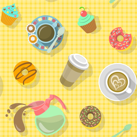 Bright colorful flat seamless pattern with cups of black coffee, cappuccino, coffee pot, donuts, sweets and paper coffee cup with shadows on a plaid background, ready for creating a website background, wrapping paper, fabrics and so on